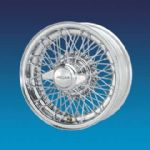 "Jaguar Competition Chrome CURLY HUB 5"" x 15""   72 spokes wire wheel"